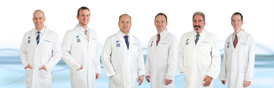 The six Abay Neuroscience Center physicians in lab coats